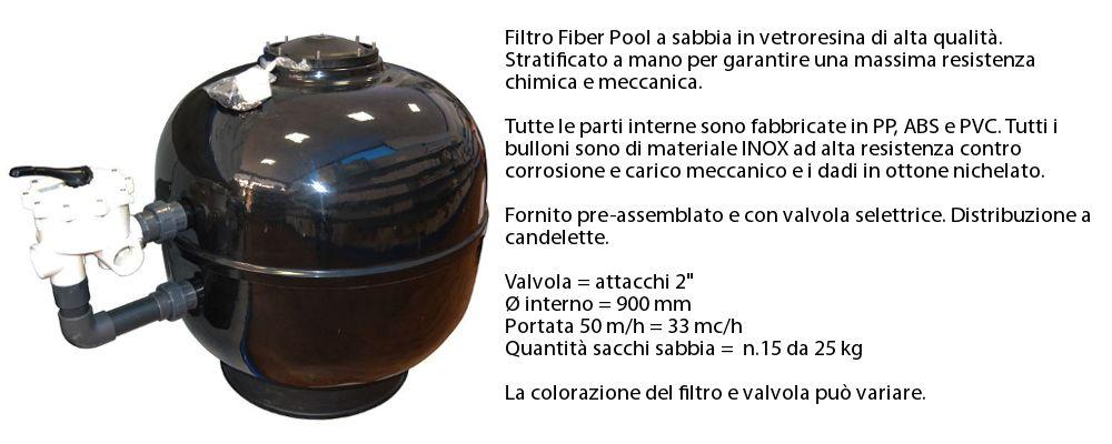 Filtro a sabbia 33 mc/h per piscina 7 x 14 m