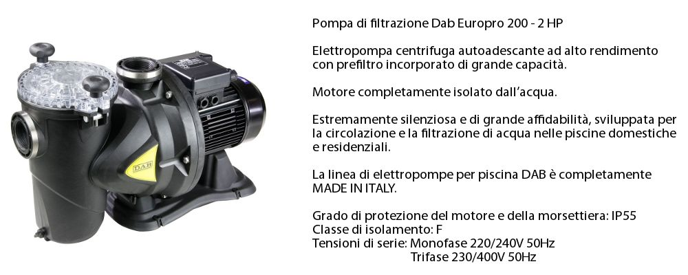 pompa di filtrazione Dab 2 hp per impianto di fitlrazione da 33 mc/h