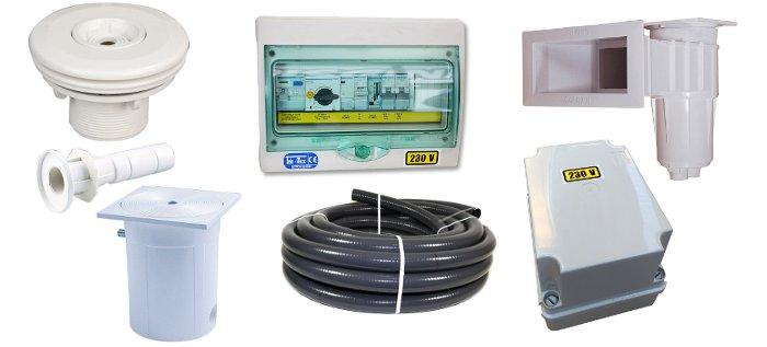 kit accessori componentistica per costruzione piscina con casseri fai da te