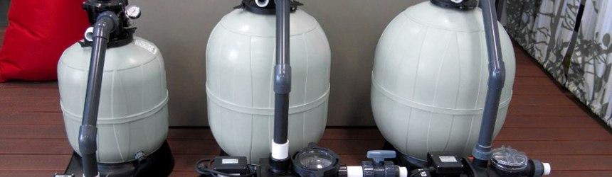 impianti di filtrazione a sabbia completi di boccia filtro (dove è contenuta la sabbia) e pompa di filtrazioni di varie potenze