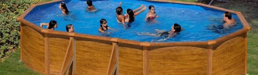 piscine in acciaio ma con la decorazione esterna fantasia legno
